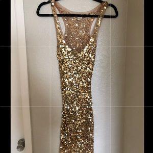 Arden B Gold Sequins Dress